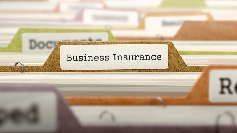 business insurance folder in a filing cabinet